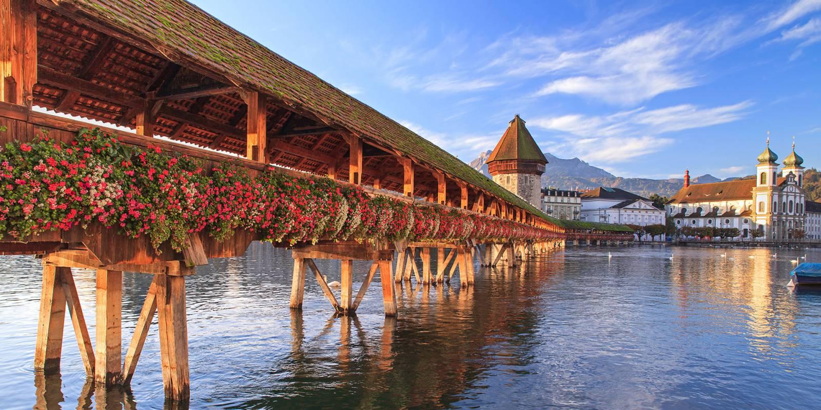 Chapel Bridge Lucerne Next To The Designhotel Astoria